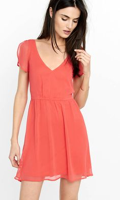 Deep V-neck Crinkle Chiffon Dress from EXPRESS