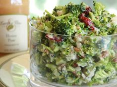 Broccoli Bacon Salad w/cranberries, water chesnuts, bacon and Champagne Pear Vinagrette