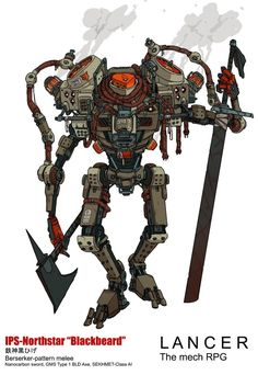 """""""The IPS-Northstar BLACKBEARD for LANCER, the mech RPG a powerful and unstable melee mech with the berserk SEKHMET AI that uses a shoulder mounted harpoon system to reel in opponents and tear them to pieces. Robot Concept Art, Armor Concept, Robot Art, Character Concept, Character Art, Cyberpunk Rpg, Robot Illustration, Fighting Robots, Dungeons And Dragons Characters"""