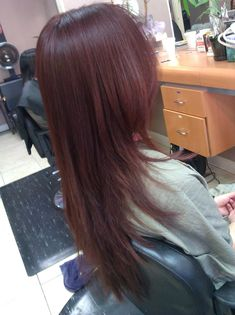 Avalon Salon - Orange, CA, United States. V-shaped haircut on extremely thick, coarse and long hair. Red shinny hair is perfect for the holiday season. V Layers Hair, Haircuts For Long Hair With Layers, Long Layered Haircuts, Long Hair With Bangs, Long Hair Cuts, Hairstyles With Bangs, Cool Hairstyles, Layered Hairstyle, Front Hair Styles