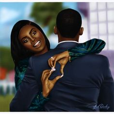Such a Beautiful Lovely piece by _ Sexy Black Art, Black Love Art, Black Girl Art, Black Is Beautiful, Art Girl, Beautiful Artwork, Black Men, Black Couple Art, Black Love Couples
