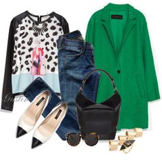 """""""green coat"""" by stacy-gustin on Polyvore"""