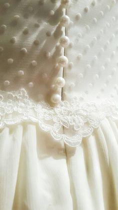 Chiffon and Lace Wedding Dress with Swiss Dot, Rustic wedding Dress, Unique…