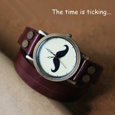 Leather Wrap Watch - Mustache Watch- Women Watches on Etsy, $16.99