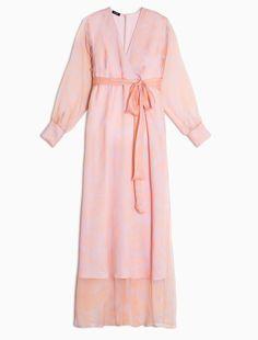 MAX&Co. - Langes Seidenkleid mit Blumenmotiv, Orangenes Muster - Langes Kleid aus Seidenkrepon mit…