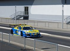 The Audi R8 LMS that won the 2012 Nurburgring 24hrs spotted on public roads near the track in the days before the race.