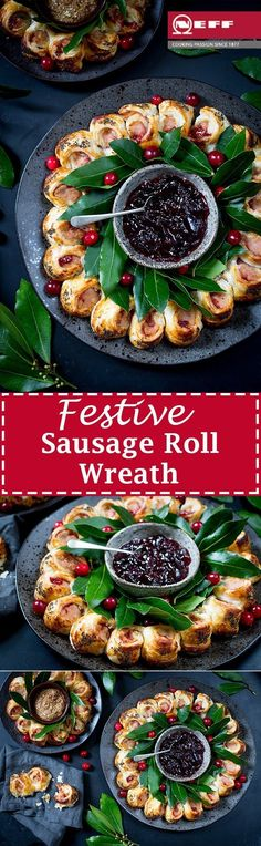 This easy festive sausage roll wreath looks amazing on any party table. Topped with a honey mustard gaze and poppy seeds! This easy festive sausage roll wreath looks amazing on any party table. Topped with a honey mustard gaze and poppy seeds! Christmas Appetizers, Appetizers For Party, Appetizer Recipes, Appetizer Ideas, Yummy Appetizers, Snack Recipes, Xmas Food, Christmas Cooking, Christmas Entertaining