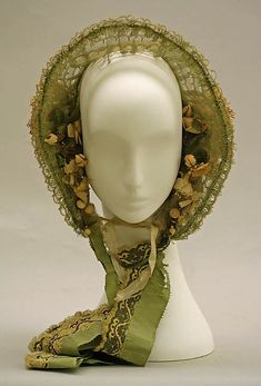 Cotton and wool bonnet, silk ribbon with picot edge and embroidered looped fringe edge strings, functional ties. ca MET Victorian Hats, Victorian Fashion, Vintage Fashion, 1850s Fashion, Bonnet Hat, War Bonnet, Historical Costume, Historical Clothing, Antique Clothing