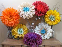 Autumn Fantasy 7 Giant Paper Flowers harvest rainbow by whimsypie Giant Paper Flowers, Diy Flowers, Fabric Flowers, Fall Projects, Craft Projects, Fall Wedding Decorations, Decor Wedding, Tissue Paper Decorations, Headband Crafts