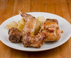 Roasted Rabbit with Sausage and Potatoes