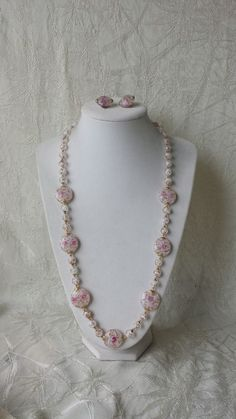 Vintage Murano Art Glass Pink Flower Gold Beads Necklace Earrings Italy Venetian