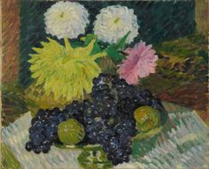 Giovanni Giacometti, Dahlias et raisins, 1908, Huile sur toile, 50,7 x 61,3 cm. © Collection particulière, Villa Flora, Winterthur. Photo Reto Pedrini, Zurich