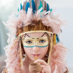 DIY enfants anniversaire décoration thème indien couronne plumes
