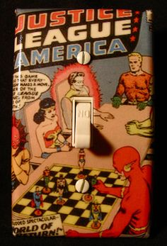 Justice League of America 1 Comic Book Light Switch Cover. $5.99, via Etsy.