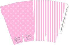 Poá e Listra Rosa - Kit Completo com molduras para convites, rótulos para…