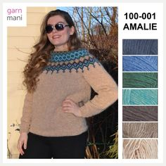 Amalie is knitted in Lettlopi - designed by Tove Richter for Garnmani, the pattern or knitting kit for sale at www.no in norwegian or english. The 100, Turtle Neck, Knitting, Model, Sweaters, Pattern, English, Kit, Design