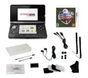 Nintendo 3DS Black Bundle with  Madden NFL & 20 Accessories  * Nintendo 3DS in Black  * 3DS Charging cradle  * 3DS AC adapter  * 3DS stylus  * SD Memory Card (2 GB)  * six AR cards  * Quick-Start Guide   * Operations Manual   * Madden NFL Football  * Crystal case with 3DS sticker  * Data and charge cable  * Screen protector (upper, lower screen, cleaning cloth, soft card)  * Hand Strap (Black)  * EarPhone Plus 3sets of the Buds (3 different size)  * 4 Game Cases  $249.99
