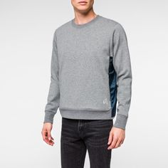 Men's Grey Marl Double-Face Jersey-Mesh Panelled Sweatshirt