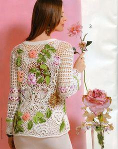 Instructions for making this gorgeous cardigan: http://kryukist.ru/uroki-vyazaniya/whitejaket-irish-crochet-lace.html