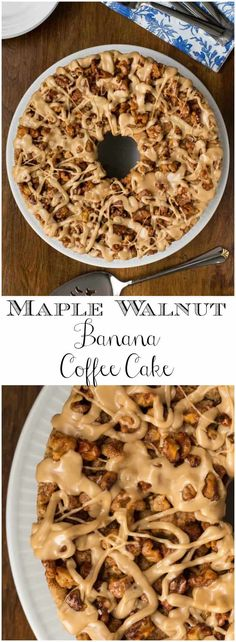 Maple Walnut Banana Coffee Cake - can be frozen. It will be the shining star of any breakfast or brunch buffet and comes together easily, without pulling out the mixer! Brunch Recipes, Breakfast Recipes, Cake Recipes, Dessert Recipes, Desserts, Banana Breakfast, Coffee Recipes, Breakfast Bites, Eat Breakfast