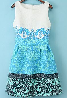Blue+Round+Neck+Sleeveless+Flowered+Floral+Jacquard+Motley+Dress+11.23