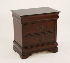The Louis three-drawer nightstand is crafted of hardwood solids and okumei  veneers in a red cherry finish with traditional styling. The drawers feature French dovetail fronts, English dovetail backs, metal glides, a functional top hidden drawer and a felt-lined bottom drawer