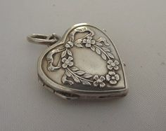 Antique Silver French Heart Locket Charm Forget Me Not Wreath