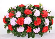 XL Pink And Red Artificial Silk Flower Cemetery Tombstone Grave Saddle Crazyboutdeco Cemetery Flowers Lavender Flowers, Real Flowers, Paper Flowers, Vase Arrangements, Silk Flower Arrangements, Cemetery Decorations, Cemetery Flowers, Hot Pink Roses, Pink Carnations