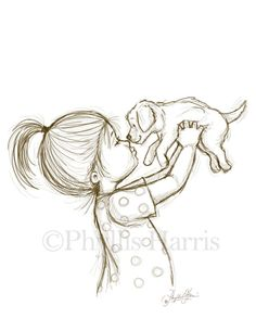 Sketch Illustration of a Puppy and Little Boy or Little Girl - You choose with boy or girl - Sketch Illustration of a Puppy and Little by PhyllisHarrisDesigns Girl Drawing Sketches, Art Drawings Sketches Simple, Sketch Painting, Pencil Art Drawings, Animal Drawings, Cool Drawings, Drawing Faces, Drawing Ideas, Sketch Ideas