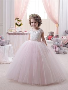 74.25$  Watch now - http://aliq47.worldwells.pw/go.php?t=32709241073 - Pageant Dresses Little Girls Cap Sleeves Lace Appliques Zipper Back Ruffle Kids Toddler Pink Infant Mesh Infant Ball Gowns 0-14Y 74.25$