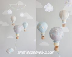 Baby mobile made from hot air balloons for your nursery decor. Perfect for a travel theme nursery!  Each little balloon is hand made from