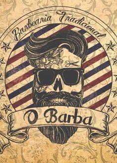 Placa decorativa Barbearia 02 - comprar online Barber Tattoo, Barber Logo, Tattoo Shop Decor, Hairdresser Tattoos, Tattoo Posters, Barber Shop Decor, Barber Shop Vintage, Barbershop Design, Oldschool