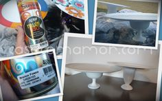 DIY - Prato de Bolo com materiais plásticos baratos e tinta spray