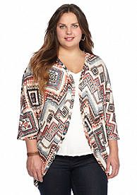 8434d81e718 Eyeshadow Plus Size Chevron Print Crochet Back Cozy Sweater Plus Size  Chevron