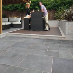 Marshalls Casarta extra large slate Paving is a beautiful Brazilian slate which imparts a clean, contemporary feel. Natural split and hand selected for a gently riven surface, this beautiful slate Paving comes in silver grey tones with belnd to suit any Garden Slabs, Slate Garden, Patio Slabs, Patio Tiles, Patio Flooring, Bluestone Patio, Flagstone, Large Backyard Landscaping, Backyard Patio Designs