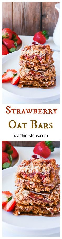 Strawberry Oat Bars - GF/vegan //PINTEREST: selinaa//