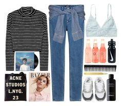 """""""blue neighbourhood"""" by julyuhnah ❤ liked on Polyvore featuring Acne Studios, A.P.C., River Island, Monki, NIKE, GHD, BRAD Biophotonic Skin Care and Tom Dixon"""