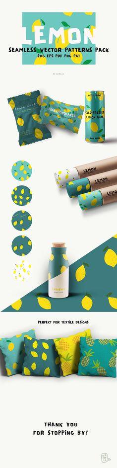 Lemon Seamless Vector Patterns Pack by nantia on Design Logo, Co Design, Identity Design, Vector Design, Brand Packaging, Packaging Design, Corporate Design, Template Brochure, Romantic Fonts