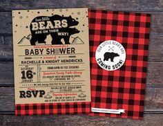 Lumberjack Baby Shower Invitation // Buffalo Plaid Woodland Baby Shower Invitation // Lumberjack Invite // twins baby shower // Bear by LyonsPrints on Etsy https://www.etsy.com/listing/258800856/lumberjack-baby-shower-invitation