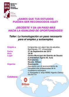 Charla sobre Homologación de Títulos y Autoempleo:http://ecuadoretxea.blogspot.com.es/2013/09/charla-sobre-homologacion-de-titulos-y.html