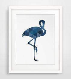 Blue Flamingo Print Flamingo Wall Art Navy by MelindaWoodDesigns #Flamingoprint  #nurserydecor