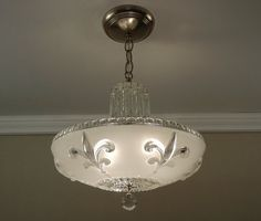 Fleur de lis Antique Chandelier 1930's Vintage by VintageGlassLights on Etsy
