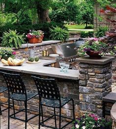 85 Best Outdoor Kitchen and Grill Ideas for Summer Backyard Barbeque - Modern Outdoor Kitchen Countertops, Outdoor Kitchen Bars, Backyard Kitchen, Outdoor Kitchen Design, Backyard Patio, Outdoor Bars, Patio Bar, Design Kitchen, Outdoor Bar Areas