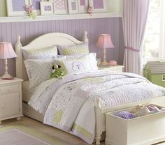 Anderson Bedroom Set | Pottery Barn Kids---Love the shelf with the framed purple swatches