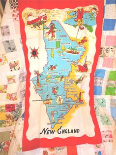 ******SOLD*******New England Souvenier Graphic Kitchen or Bar towel by Crybabe, $9.00