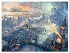 "THOMAS KINKADE 12"" X 18"" DISNEY DREAMS COLLECTION ""PETER PAN & TINKER BELL"" PRINT"