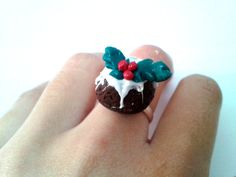 Christmas ring pudding, miniature food ring, polymer clay ring, christmas jewelry, kawaii jewelry, christmas gift , gift ideas