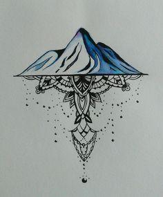 Mountains and mandala tattoo design