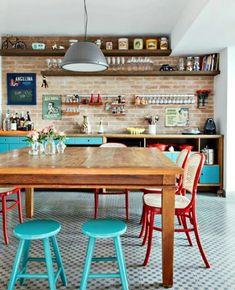 vintage cocina realmente hermosa sueño con... paredes de ladrillo