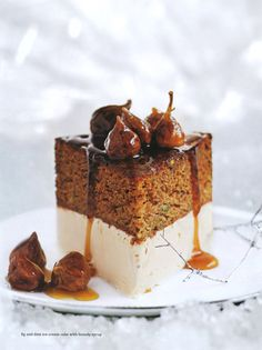 ... fig and date ice-cream cake with brandy syrup ... Thanksgiving desert idea #anthropologie #pintowin